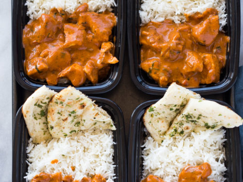 Meal-Prep Butter Chicken with Rice and Garlic Naan   Gimme Delicious