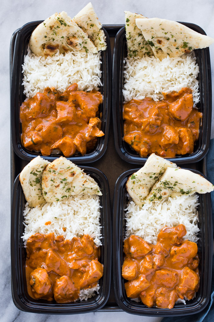 Meal Prep Butter Chicken With Rice And Garlic Naan Gimme Delicious