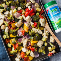 15 Minute Sheet Pan Garlic Ranch Chicken and Veggies