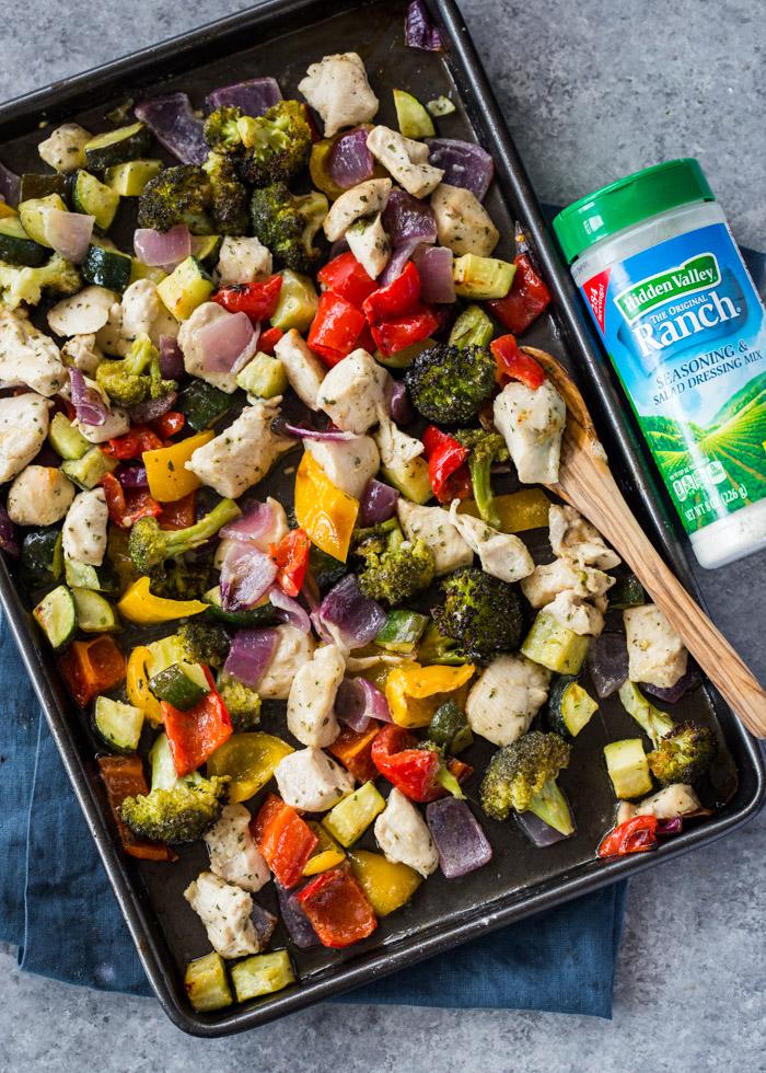 15 Minute Sheet Pan Ranch Chicken and Veggies