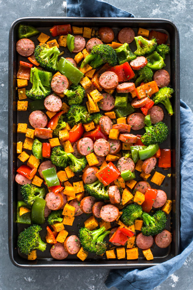 Healthy 20 Minute Sheet Pan Sausage And Veggies Gimme Delicious