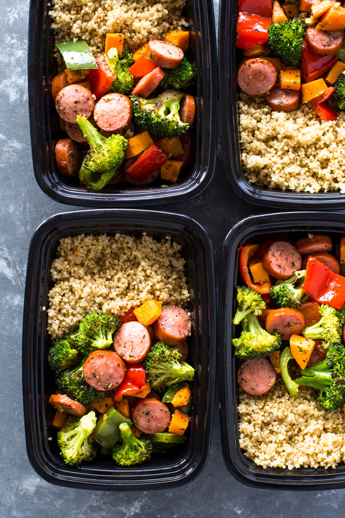 Roasted Sausage Veggies And Quinoa Meal Prep Gimme
