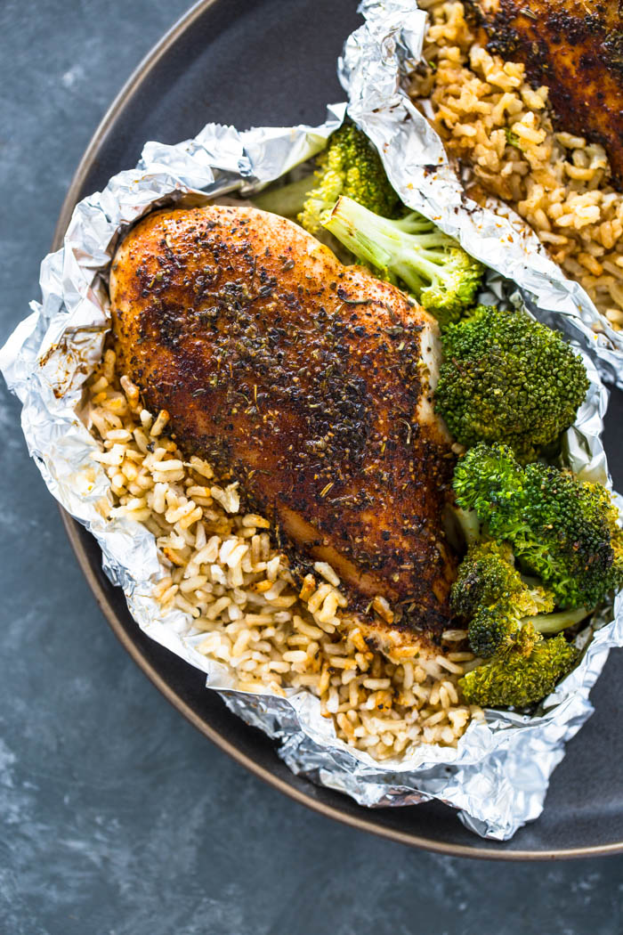 Foil Pack Chicken Rice And Broccoli Gimme Delicious