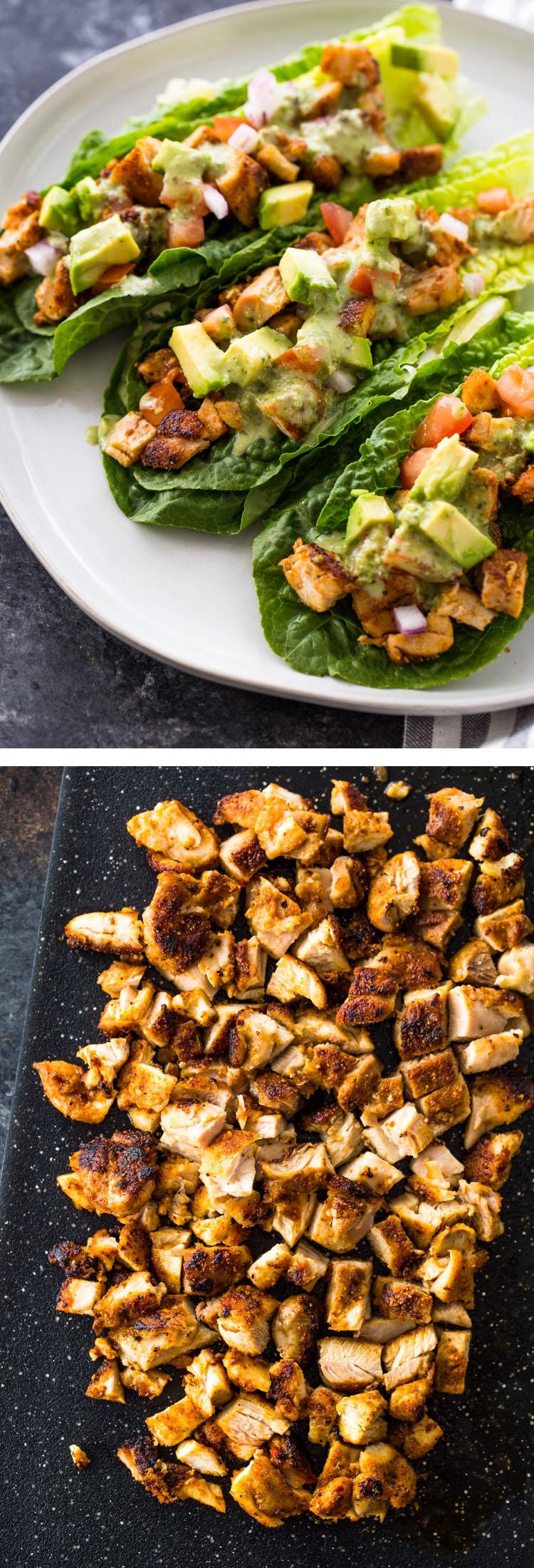 Chicken Taco Lettuce Wraps (Low-Carb , Paleo, Keto)