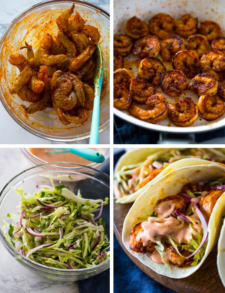 Spicy Shrimp Tacos with Creamy Sriracha Sauce & Cilantro Lime Slaw