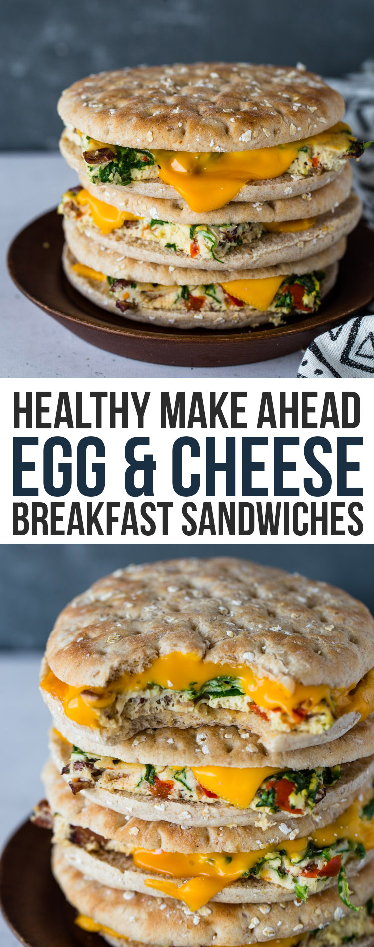 Healthy Make Ahead Egg & Cheese Breakfast Sandwiches (with Keto Option)