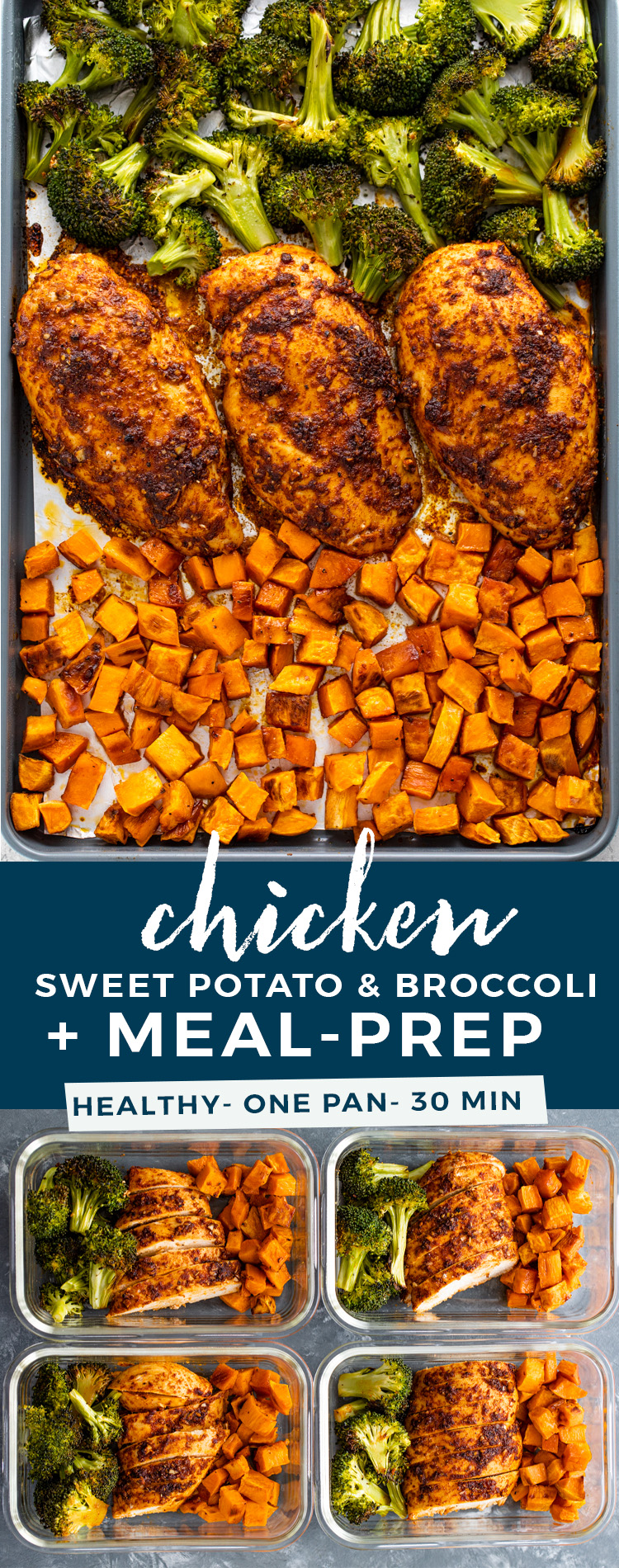 Sheet Pan Roasted Chicken, Sweet Potatoes, & Broccoli + Meal Prep