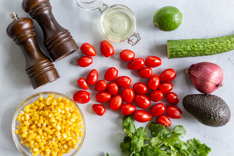 Ingredients for the corn tomato avocado salad