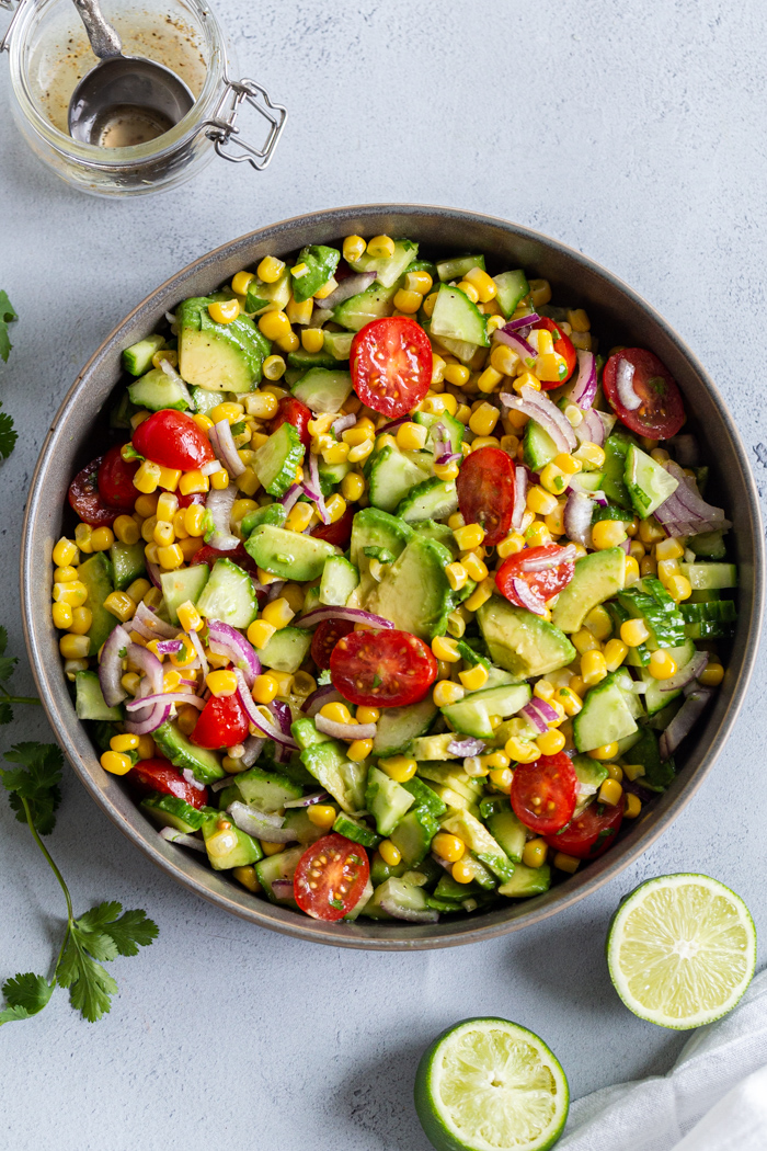 Corn Tomato Avocado salad in a plate