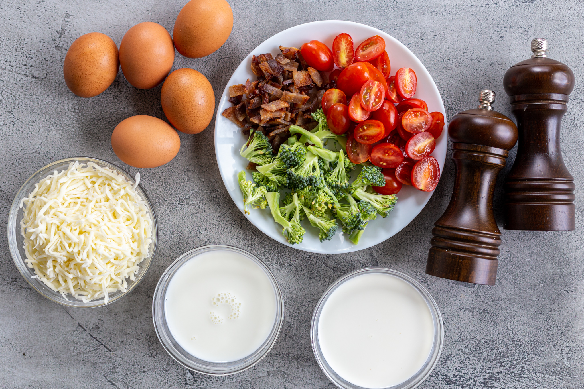 Ingredients for the crustless quiche
