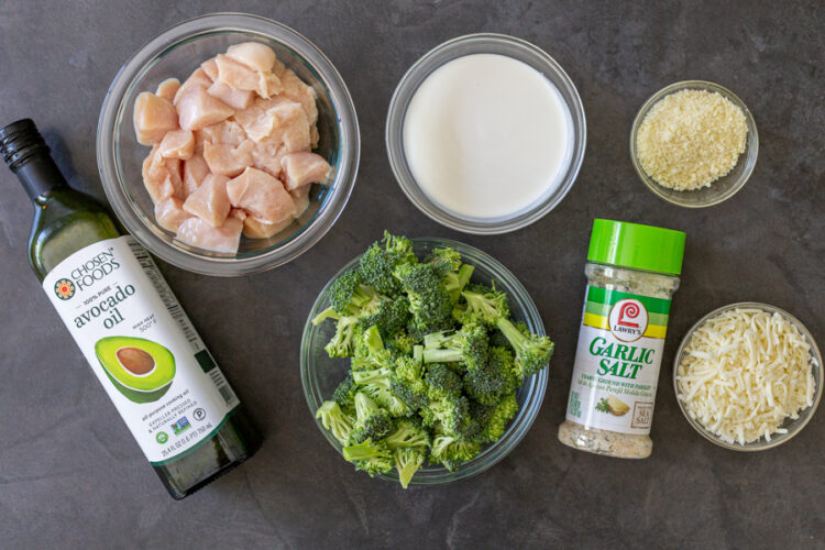 Ingredients for the creamy broccoli and cheese casserole